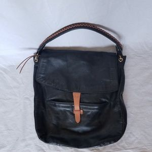 CHRISTOPHER KON BLACK/TAN LEATHER HOBO BAG